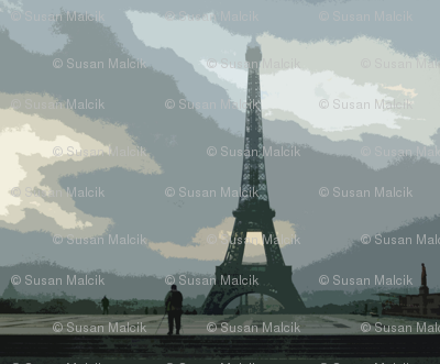 Eiffel Tower on cloudy morning