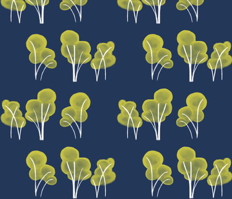 yellow_trees_on_blue fabric by glindabunny on Spoonflower - custom fabric