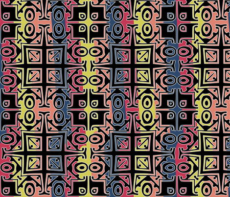 Matisse Style - Black with Coloured Background fabric by glanoramay on Spoonflower - custom fabric