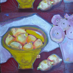 The Tunisian bowl with the peonies