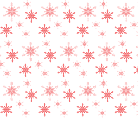 snowflakes-corals_on_white fabric by little_fish on Spoonflower - custom fabric