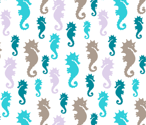 Seahorse marine fabric by paintedstudioartdesign@gmail_com on Spoonflower - custom fabric