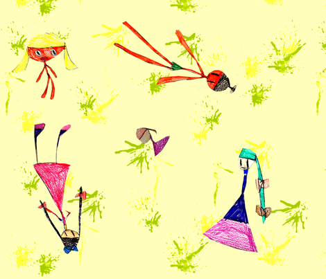 Maddy's Dolls - Yellow Paint fabric by heathermann on Spoonflower - custom fabric
