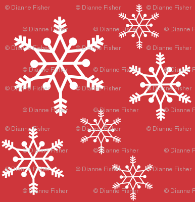 snowflakes - white on red