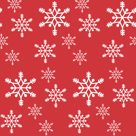 snowflakes - white on red fabric by little_fish on Spoonflower - custom fabric