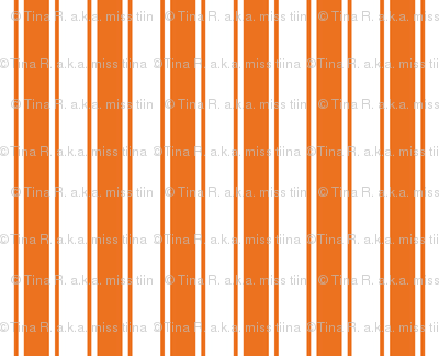 ticking stripes orange and white
