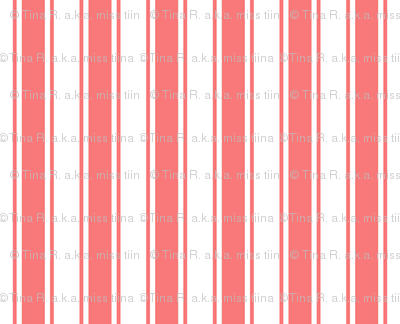 ticking stripes coral and white