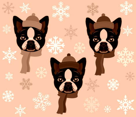 TERRIERS N  SNOWFLAKES fabric by bluevelvet on Spoonflower - custom fabric