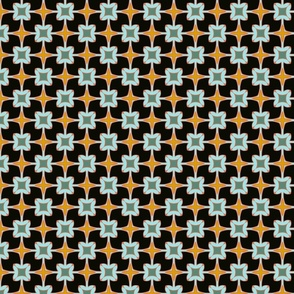 Xmas Lounge Flower Tile Black and Blue