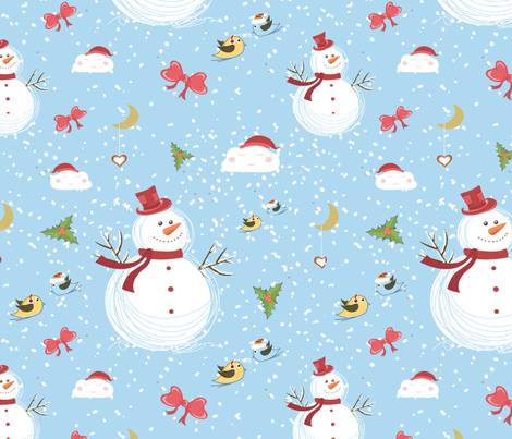 Snowman fabric by lesrubadesigns on Spoonflower - custom fabric