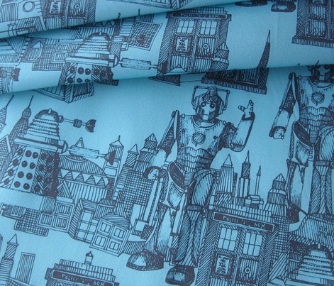 Doctor Who Toile de Jouy / Walking Doodle (turquoise)