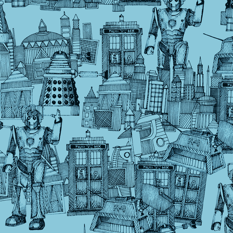 Doctor Who Toile de Jouy / Walking Doodle (turquoise) fabric by scrummy on Spoonflower - custom fabric
