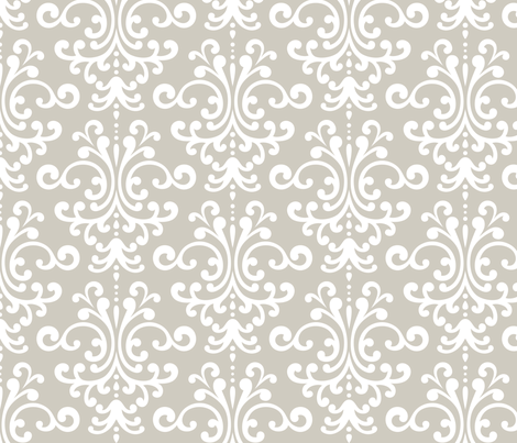 damask lg beige and white fabric by misstiina on Spoonflower - custom fabric