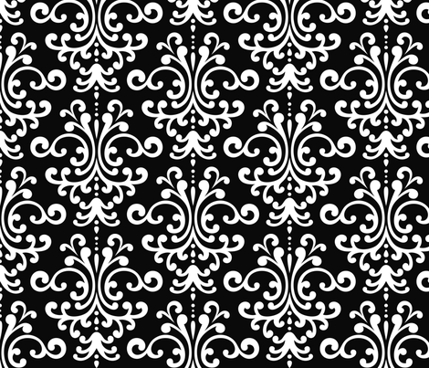 damask lg black and white fabric by misstiina on Spoonflower - custom fabric