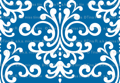 damask lg blue and white