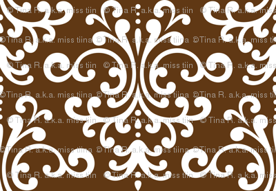 damask lg brown and white