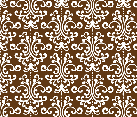 damask lg brown and white fabric by misstiina on Spoonflower - custom fabric