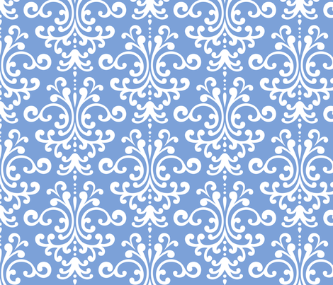 damask lg cornflower blue and white fabric by misstiina on Spoonflower - custom fabric