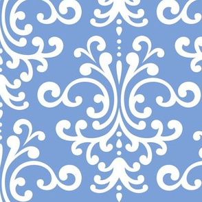 damask lg cornflower blue and white