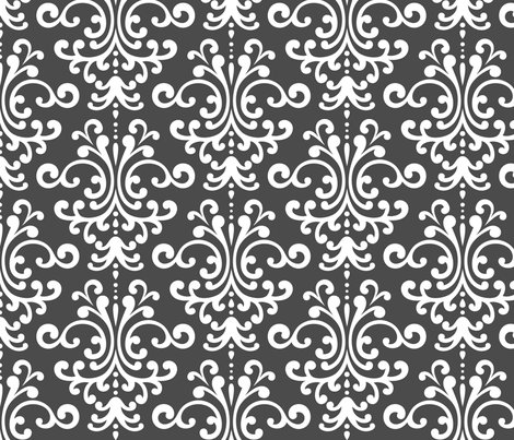damask lg dark grey and white fabric by misstiina on Spoonflower - custom fabric