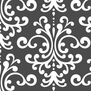 damask lg dark grey and white