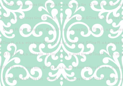 damask lg mint green and white