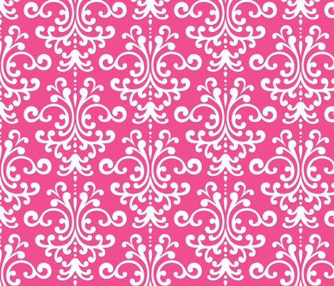damask lg dark pink and white fabric by misstiina on Spoonflower - custom fabric