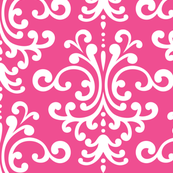 damask lg dark pink and white