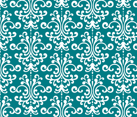 damask lg dark teal and white