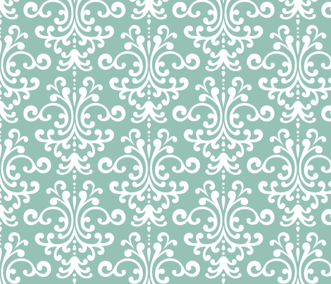 damask lg faded teal and white fabric by misstiina on Spoonflower - custom fabric