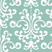 damask lg faded teal and white