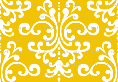 damask lg golden yellow and white