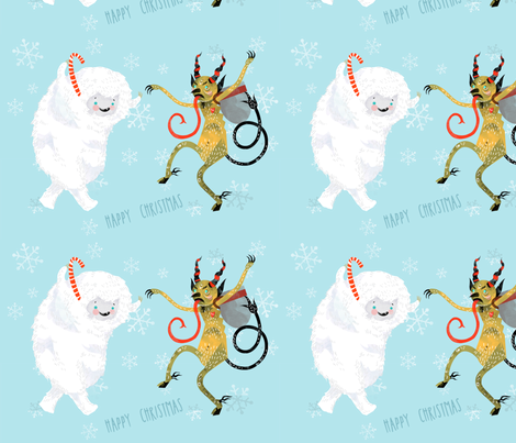 A Very Yeti Krampus Christmas! fabric by jessamarie on Spoonflower - custom fabric