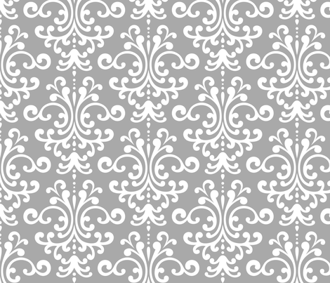 damask lg grey and white fabric by misstiina on Spoonflower - custom fabric