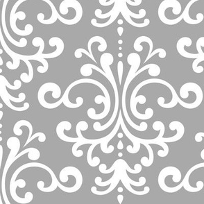 damask lg grey and white