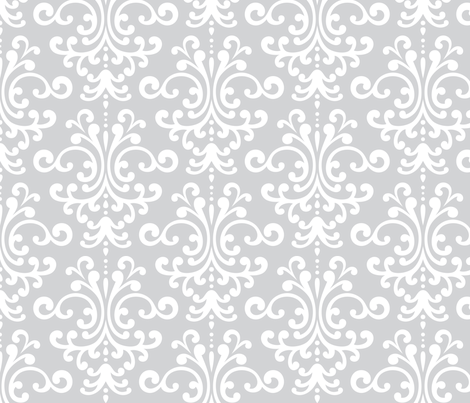 damask lg light grey and white fabric by misstiina on Spoonflower - custom fabric