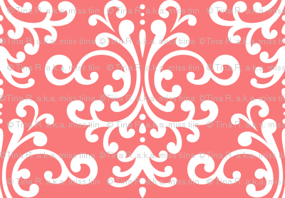 damask lg coral and white