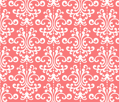 damask lg coral and white fabric by misstiina on Spoonflower - custom fabric
