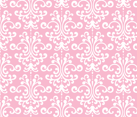 damask lg light pink and white fabric by misstiina on Spoonflower - custom fabric