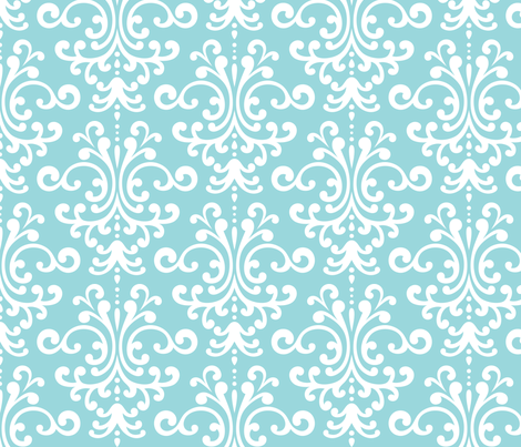 damask lg teal and white fabric by misstiina on Spoonflower - custom fabric