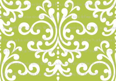 damask lg lime green