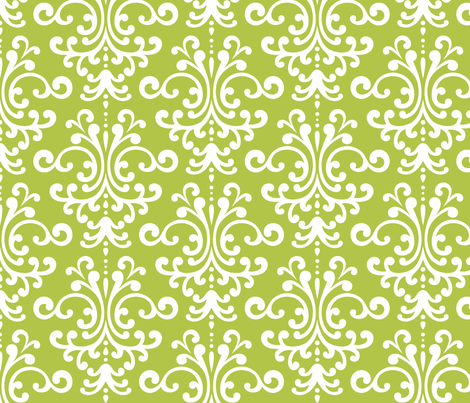 damask lg lime green and white