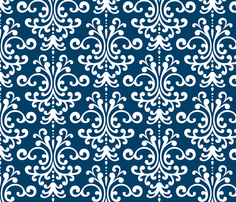 damask lg navy blue and white