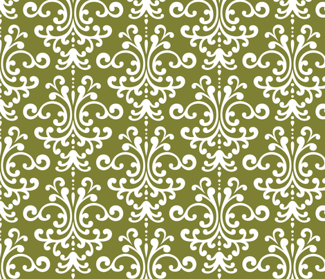 damask lg olive green and white fabric by misstiina on Spoonflower - custom fabric
