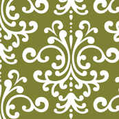 damask lg olive green and white