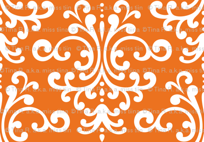 damask lg orange and white