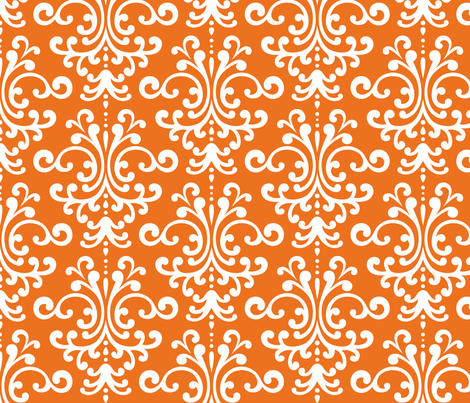 damask lg orange and white fabric by misstiina on Spoonflower - custom fabric
