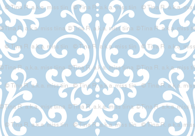 damask lg powder blue and white