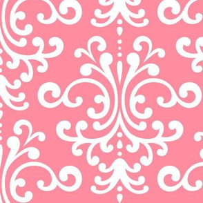 damask lg pretty pink and white