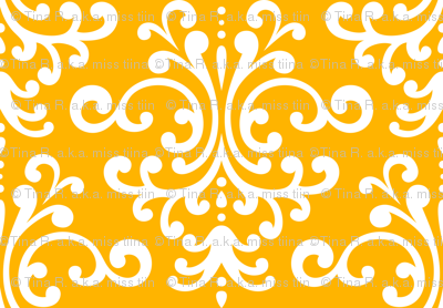 damask lg pumpkin orange and white
